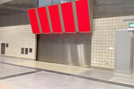 Close up picture of rolling door in a convention center