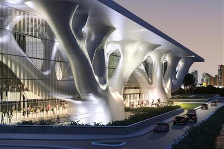 Outside image of the Qatar Education and Convention Center