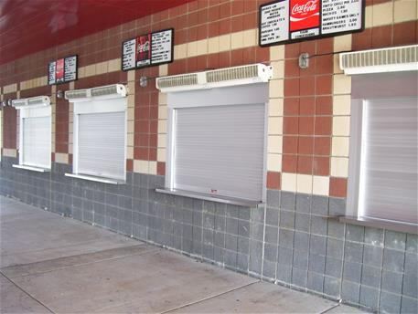 Coasterra Restaurant in San Diego; Al concession shutters - 4 in a row; White counter shutter ... & Rolling Counter Door