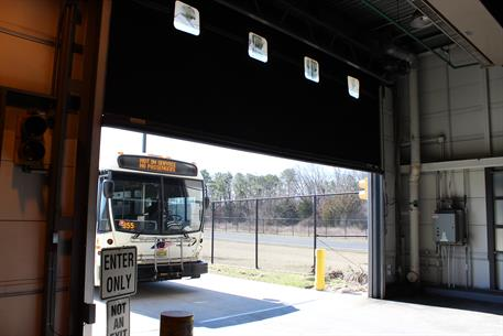 Overhead Door NJ Transit - bus going in