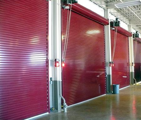 Insulated Roll Up Garage Doors Red