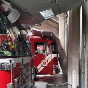 Tornado door damge to fire truck